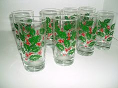 Vintage Christmas Holly And Berries Tumbler Glasses, Bartlett Collins  Holiday Glasses Set Of 8 High