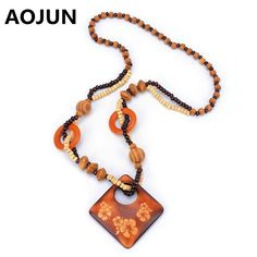 AOJUN Boho Square Flower Pendants Necklace Charm Punk Collar Vintage Wood Beads Necklaces Long Sweater Chain Jewelry XL969