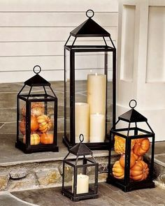 Lantern, Bronze Finish, Small Fall Decor - Front Porch Lanterns Filled with Mini Pumpkins and Gourds.Fall Decor - Front Porch Lanterns Filled with Mini Pumpkins and Gourds. Porche Halloween, Fall Halloween, Halloween Horror, Halloween Halloween, Country Halloween, Halloween Punch, Classy Halloween, Outdoor Halloween, Fall Home Decor