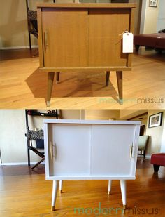 Mid Century Modern  Record Cabinet Before and After | 50s | 60s | Home | DIY | Style | Love | Storage | Retro | Classic
