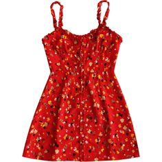 Floral Frilled Button Up Mini Dress ($30) ❤ liked on Polyvore featuring dresses, floral printed dress, flutter-sleeve dresses, button up dress, short floral dresses and red mini dress
