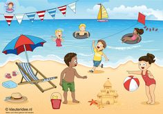TOUCH this image: Interactieve praatplaat, thema zomer, kleuteridee.nl by juf Petra Language Activities, Writing Activities, Activities For Kids, Picture Comprehension, Kindergarten Songs, Picture Composition, Shapes For Kids, Picture Writing Prompts, School Themes
