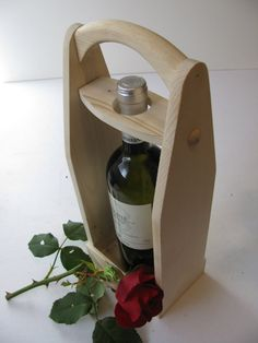 Wood wine carrier Wine tote Unfinished economy by WoodaCooda, $33.75