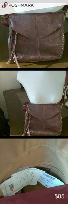 THE ZAK XBODY BROWN BAG Color brown  Brand The Zak 100% leather with vintage gold tone hardware and vintage studded Size small inside two pouches and one zip pouch Small pouch outside with two tassels straps Priced 149.00 THE ZAK Bags Crossbody Bags