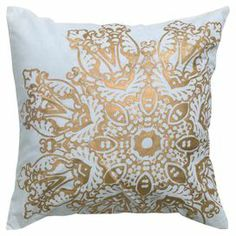 "Cotton pillow with a metallic medallion.    Product: PillowConstruction Material: Cotton cover and polyester fillColor: GoldFeatures:  Insert includedMetallic printing details Dimensions: 18"" x 18"""