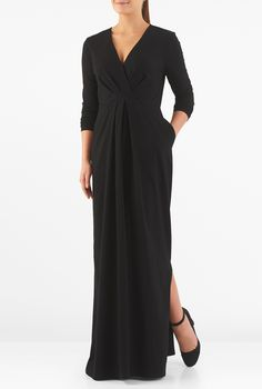 Our bracelet length sleeve maxi dress cut from matte jersey knit is pleated at diagonal angles at the midsection to update a classic fit-and-flare silhouette.