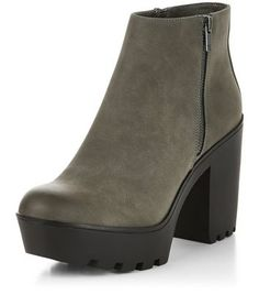 Grey Suedette Chunky Block Heel Ankle Boots
