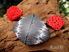Red Black and White statement necklace Tribal & by MoirasArt