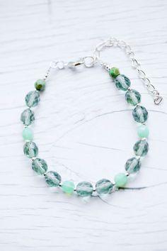 Tourmaline & Milky Seafoam faceted Glass Bead Bracelet