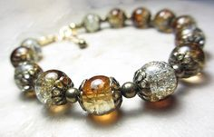 Amber Cracked Bracelet Two Sided Bohemian Brown Ice by NataliaKh, $25.77