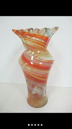 Murano swirl glass ruffled rim vase