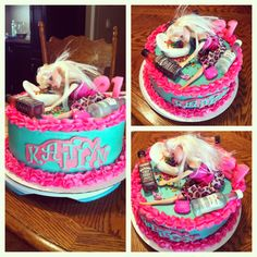 Drunk Barbie cake, pink, blue, 21st birthday