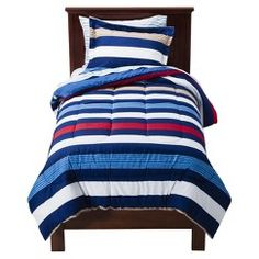 Circo® Rugby Stripe Bed Set - Toddler - I just bought this for zander Kids Comforter Sets, Toddler Comforter, Boy Toddler Bedroom, Toddler Rooms, Kids Rooms, Boy Bedding, Kids Bedroom, Boy Bedrooms, Twin Comforter