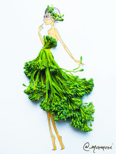 Meredith Wing is a creative fashion designer from NYC who combines flowers and veggies with her three-dimensional drawings to create one of kind fashion Art Floral, Arte Quilling, Fashion Illustration Dresses, Fashion Illustrations, Arte Fashion, Deco Nature, Illustration Mode, Creative Artwork, Fashion Design Sketches
