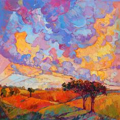 Dramatic approach to contemporary landscapes in oil, by artist Erin Hanson
