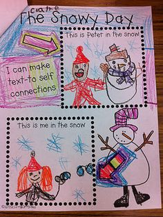 During reader's workshop we used the book The Snowy Day to respond to literature. Here are some of the activities we did. We made text-to-self connections. They drew Peter in the snow and then they drew themselves in the snow. They loved this activity. Kindergarten Language Arts, Kindergarten Literacy, Kindergarten Activities, Writing Activities, Winter Activities, Retelling Activities, Montessori Preschool, Preschool Curriculum, Preschool Themes