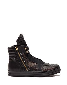 TYSON HIGH TOP SNEAKERS IN LEATHER STAMPED WITH A TEJUS PATTERN - Shoes Man - Alberto Guardiani
