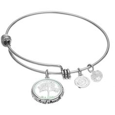 love this life Silver Plated Crystal Family Tree Charm Bangle Bracelet ($20) ❤ liked on Polyvore featuring jewelry, bracelets, silver, circle charm, bracelets bangle, hinged bangle, charm bracelet bangle and love this life bangles