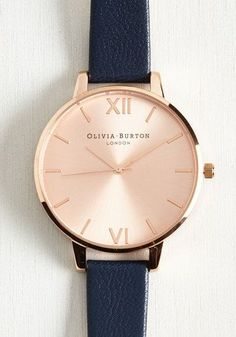Vintage Watches Become known as the arbiter of good taste by making this Olivia Burton Big Dial watch your constant companion! Composed of a rose gold face and accented by roman numerals and a polished rim, this elegant blue watch wants for nothing. Retro Watches, Vintage Watches, Women's Watches, Wrist Watches, Stylish Watches, Luxury Watches, Simple Watches, Cartier, Mode Rose