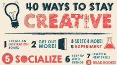 Suffering from creative block? This handy infographic lists 40 ways to unleash all your innovative ideas.