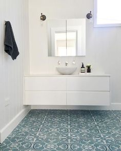 With tiles this striking, white walls and cabinetry let the floor take centre stage. Bathroom by @kirsten.mchale.interiors  Tiles from @beaumont.tiles  Getting ready to renovate? www.interiorsme.com.au Center Stage, Centre, Balinese Interior, Beaumont Tiles, White Walls, Make It Simple, Tile Floor, Interiors, Flooring