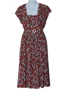 Vintage 1940s Paisley Print Linen Dress, with side metal zip, Approx. UK Size 12