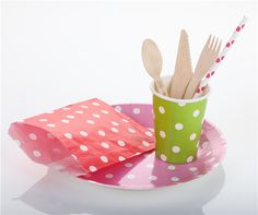 These paper products are perfect for party. paper bags/paper plates and cups/ wooden spoon, fork and knife and paper straws