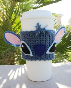 Stitch -ish Inspired Coffee Travel Mug Cup Cozy: Disney-ish Eco - Friendly Lilo & Stitch -ish Crochet Knit Sleeve    Be original AND eco-friendly at