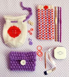 Three Little Pouches - the purl bee  **Free Knitting and Crocheting Patterns**  *I love the little bobble pouch and I LOVE the idea of making these little pouches for all your little bits and pieces*