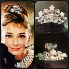 Audrey Hepburn Inspired Mini Tiara by KaitlynLuvBoutique on Etsy Audrey Hepburn Breakfast At Tiffanys, Audrey Hepburn Inspired, Tiffany Theme, Tiffany Party, Birthday Parties, Bridal Shower, Halloween Costumes, Pearls, Trending Outfits