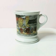 Vintage Life of a FIREMAN MUSTACHE MUG Antique Fire Truck with Horses Gold Trim