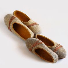 2 pairs handmade wool felted slippers Family by VaivaIndre on Etsy