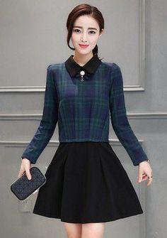Buy Peter Pan Collar Tartan Plaid Fit & Flare Dress | mysallyfashion.com Malaysia