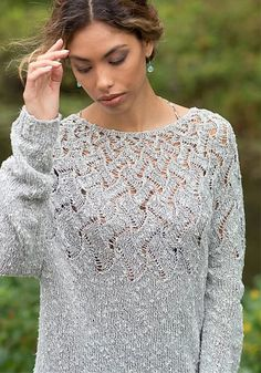Free Knitting Pattern for Lisette Pullover - Long-sleeved pullover sweater with . : Free Knitting Pattern for Lisette Pullover – Long-sleeved pullover sweater with a deep lace yoke. Sizes Designed by Berroco Design Team. Free Knitting Patterns For Women, Sweater Knitting Patterns, Lace Knitting, Knitting Stitches, Crochet Lace, Knitting Sweaters, Women's Sweaters, Pullover Sweaters, Lace Sweater