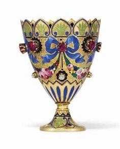 A SWISS JEWELLED ENAMELLED GOLD ZARF GENEVA, CIRCA 1830