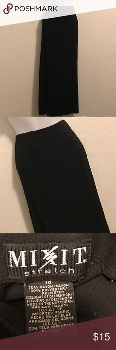 Mixit Stretch Long Basic Black Skirt Excellent Condition, knee length side slit, side zipper, stretch. Mixit Skirts
