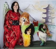 Pinned from dailymail.co.uk. The UK's top dog groomer Sue Eld-Weaver with her poodle, Dobby, in a Japanese-inspired look. Creative grooming.