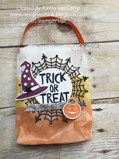 Design With Ink: September Club Night!...Candy Treat Bag...Sketched Dots Gift Bags, Stampin' Up! Howl-O-Ween Bundle