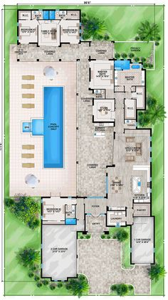 Florida House Plan with Guest Wing Tuscan, Luxury, Floor Master Suite, Butler Walk-in Pantry, Split Bedrooms Florida House Plans, Pool House Plans, Dream House Plans, Modern House Plans, Florida Home, Florida Style, U Shaped House Plans, Guest House Plans, House Plans With Courtyard