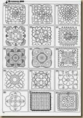 Many crochet diagrams, including motifs and edging. Click images to enlarge.