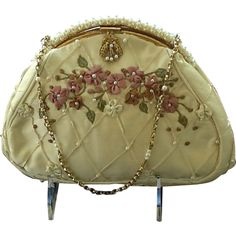 ***MINT***Vintage Revivals Silk Purse with Appliqués and Faux Pearl Frame