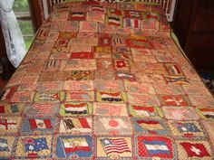 Early-1900s-100-Tobacco-Flannel-Quilt-American-Flag-Harvard-Missouri-Indian Quilt Stitching, Quilting, American Flag Quilt, Crazy Quilt Stitches, Flannel Quilts, Harvard, Missouri, Native American, Wave