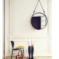 Gubi Adnet Round Mirror with Black Leather Strap | Urban Couture - Designer Homewares & Furniture Online