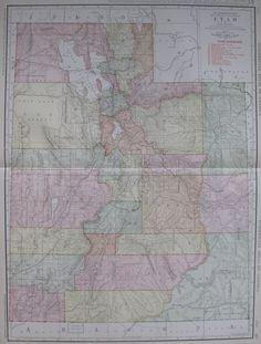 RARE Size UTAH Map of Utah with RAILROADS 1914 by plaindealing