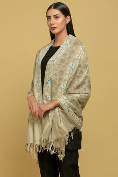 Light Brown Pure Kashmir Pashmina Kani Jamawar Weave Shawl