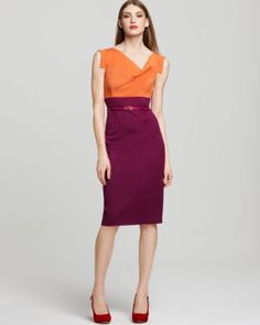big fan of black halo dresses...this one mixes orange and deep purple into fun