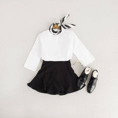 Button Back Round Blouse, Ivory, Slim Fit Flared Skirt, Black and Simple Oxford Brogues, Black