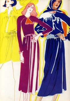 Matter Jersey dresses by Jean Muir for Harper's Bazaar, 1970. Illustrations by Mouchy.