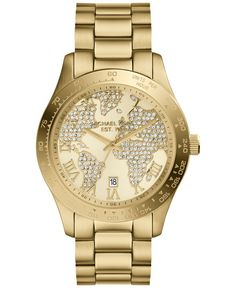 Michael Kors Women's Layton Gold-Tone Stainless Steel Bracelet Watch 44mm MK5959 - For Her - Jewelry & Watches - Macy's