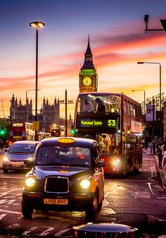 All of the beloved London icons in one shot ~ Black taxi, Double Decker bus, Westminster bridge, Big Ben, CC Security camera. Sunset was optional.